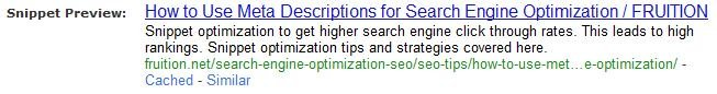 Snippet for meta description