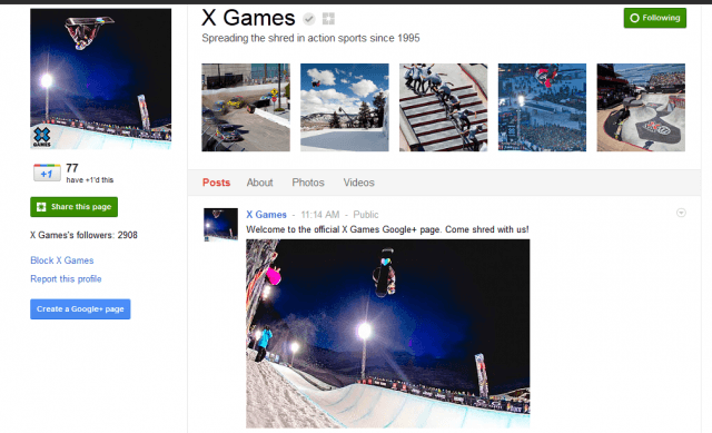 Google+ Pages Preview X-Games