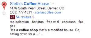 coffee shop serp