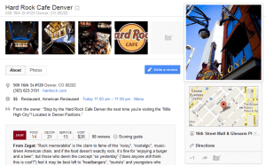 google plus page for hard rock cafe denver