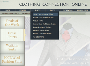 Clothing Connection Online navigation