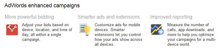 enhanced adwords feature list
