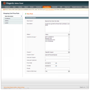 Step one for creating a new cart rule in Magento. Pick a name, date and group the rule effects.
