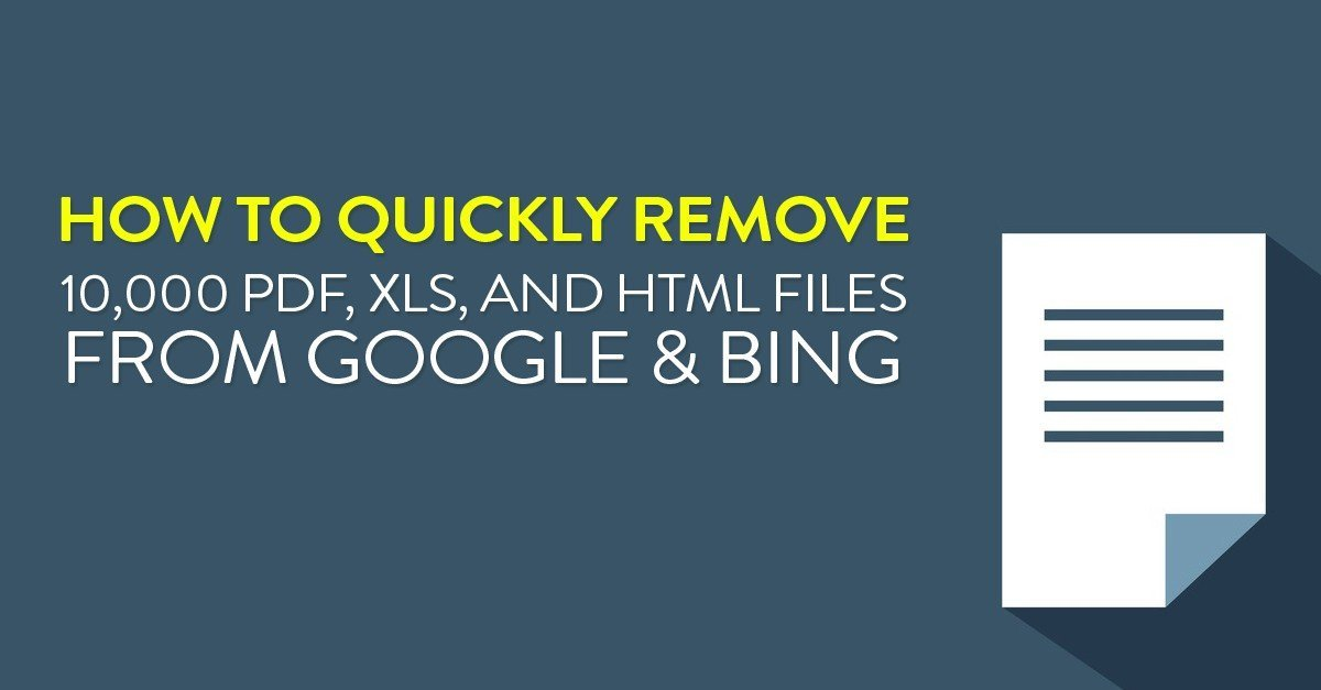 How to quickly remove 10,000 PDF, XLS, and HTML files from Google & Bing