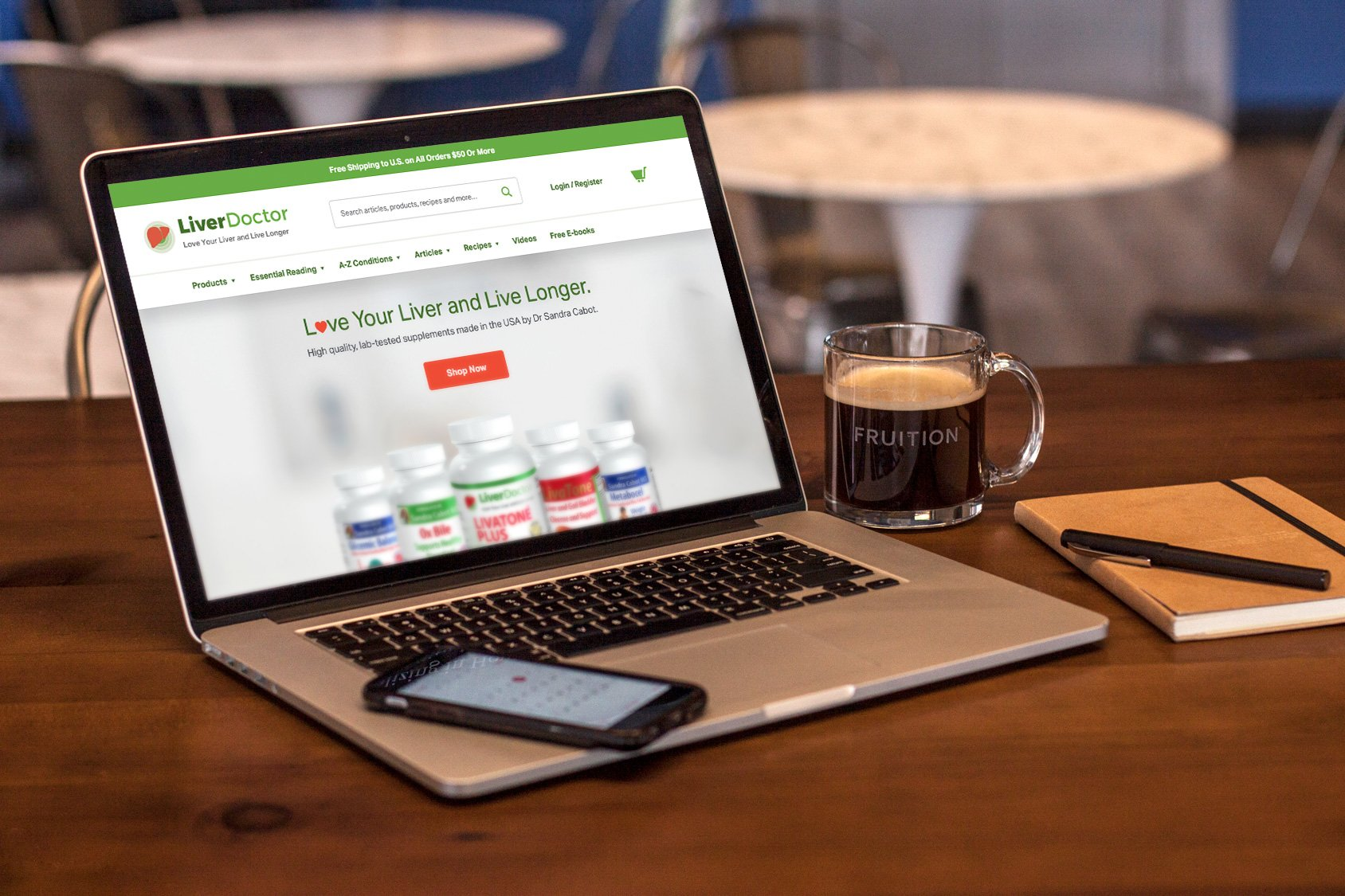 Fruition Growth releases new Liver Doctor website, as shown on a laptop screen.